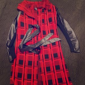 Red long jacket sweater